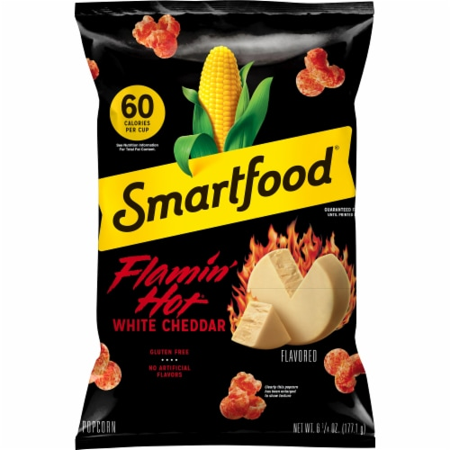 Smartfood Flamin' Hot White Cheddar Flavored Popcorn Snacks Perspective: front