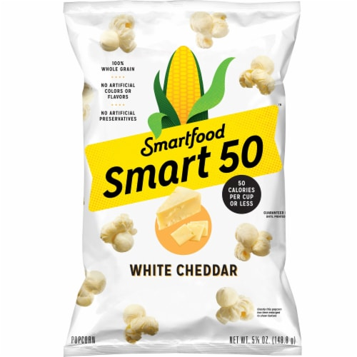 Smartfood Smart50 White Cheddar Flavored Popcorn Snacks Perspective: front