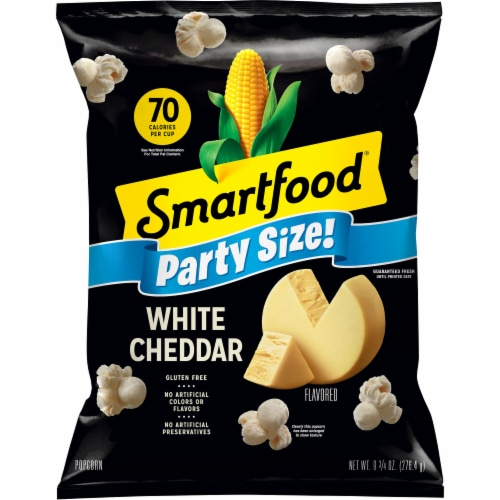 Smartfood White Cheddar Flavored Popcorn Party Size Snacks Perspective: front