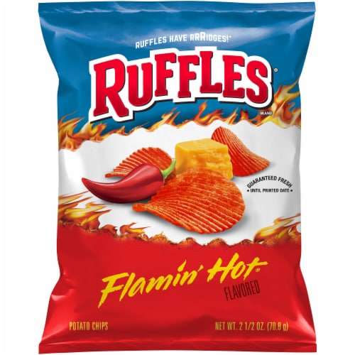 Ruffles Flamin' Hot Flavored Potato Chips Perspective: front