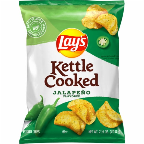 Lay's Kettle Cooked Potato Chips Jalapeno Flavored Snacks Perspective: front