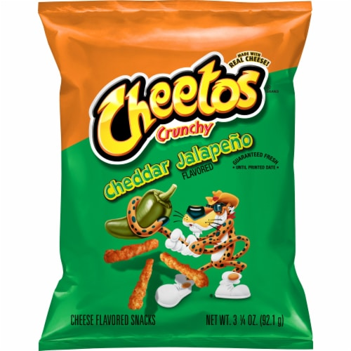 Cheetos Crunchy Spicy Cheddar Jalapeno Flavored Cheese Snacks Perspective: front