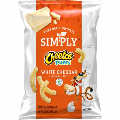 Cheetos Simply Puffs White Cheddar Flavored Cheese Puffs Snacks Perspective: front