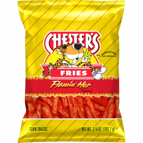 Chester's Fries Flamin' Hot Flavored Corn & Potato Snacks Perspective: front