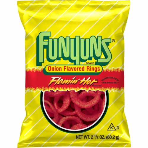 Funyuns Flamin' Hot Onion Flavored Rings Snacks Perspective: front