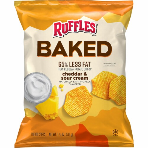 Ruffles Baked Cheddar & Sour Cream Flavored Potato Crisps Perspective: front
