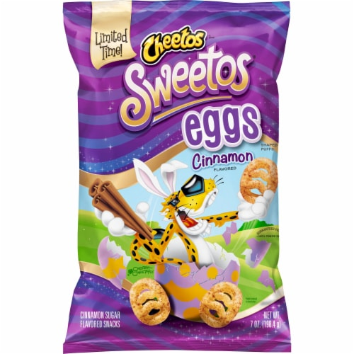 Cheetos Sweetos Eggs Cinnamon Sugar Flavored Snacks Perspective: front