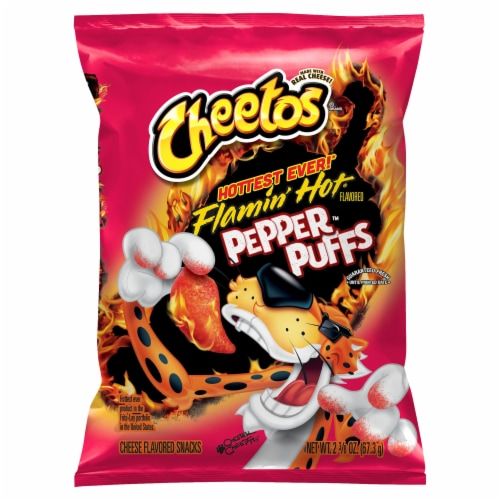 Cheetos Flamin' Hot Pepper Puffs Cheese Flavored Snacks Perspective: front