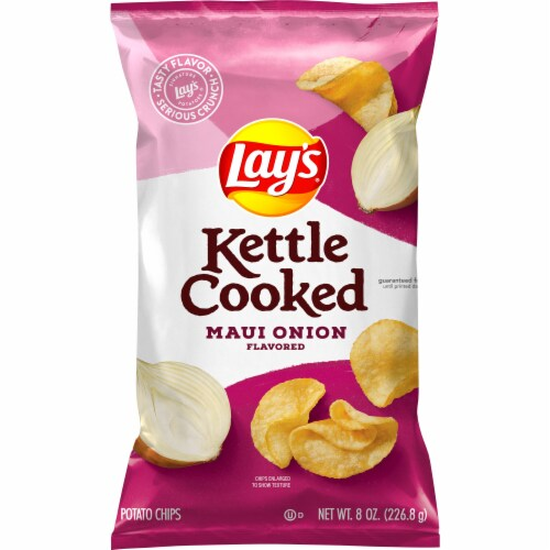 Lay's Kettle Cooked Potato Chips Maui Onion Flavor Bag Perspective: front
