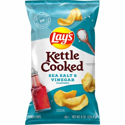 Lay's Kettle Cooked Sea Salt & Vinegar Flavored Potato Chips Perspective: front