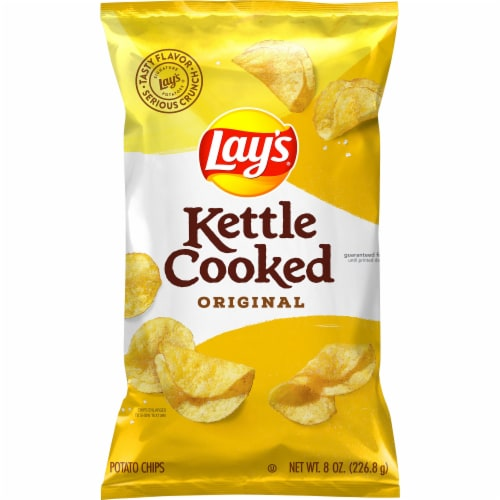 Lay's Kettle Cooked Potato Chips Original Flavor Bag Perspective: front