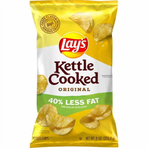 Lay's Kettle Cooked Potato Chips Reduced Fat Bag Perspective: front