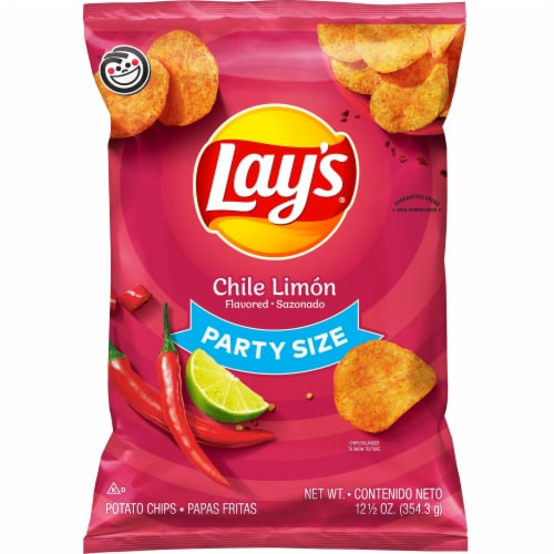 Lay's Chile Limon Flavored Potato Chips Party Size Perspective: front