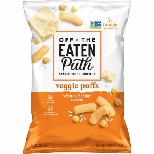 Off the Eaten Path White Cheddar Veggie Puffs Perspective: front