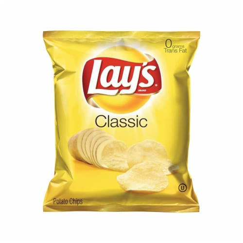Lays Regular Potato Chips, 1.5 Ounce - 64 per pack -- 1 each. Perspective: front