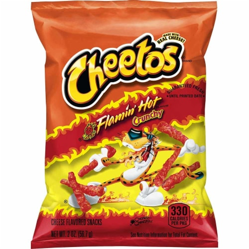 Cheetos Crunchy Flamin Hot Cheese Flavored Snacks, 2 Ounce - 64 per case Perspective: front