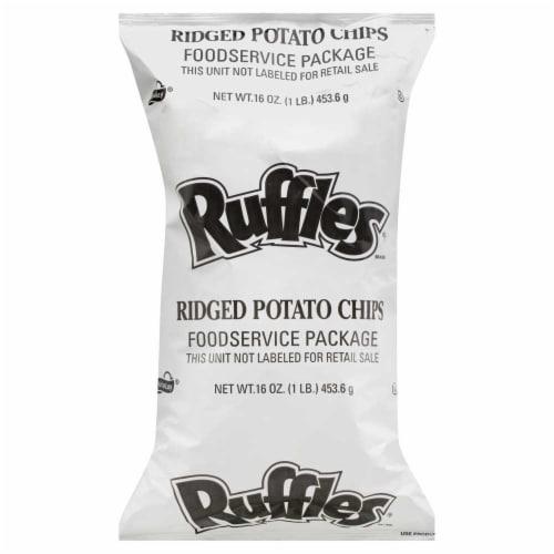 Frito Lay Ruffles Ridged Potato Chips, 1 Pound -- 8 per case. Perspective: front