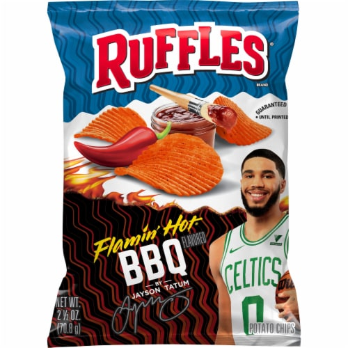 Ruffles Flamin' Hot BBQ Flavored Potato Chips Perspective: front