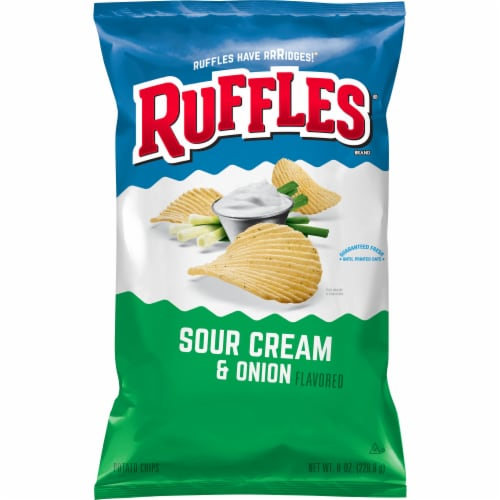 Ruffles Sour Cream & Onion Flavored Potato Chips Perspective: front