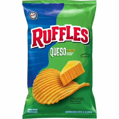 Ruffles Queso Cheese Flavored Potato Chips Perspective: front