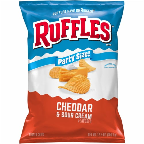 Ruffles Cheddar & Sour Cream Potato Chips Party Size Perspective: front