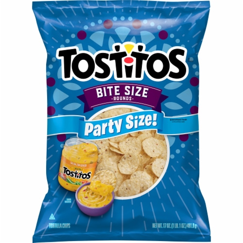 Tostitos Bite Size Rounds Tortilla Chips Party Size Perspective: front