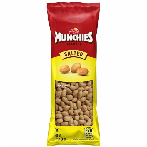 Frito Lay Munchies Salted Peanuts, 1.625 Ounce Plastic Bag -- 96 per case. Perspective: front