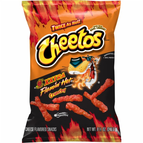 Cheetos Crunchy Xtra Hot Cheese Flavored Snacks Perspective: front