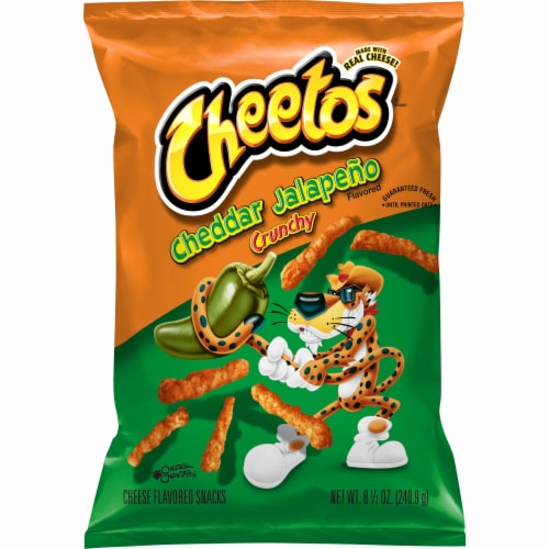 Cheetos Crunchy Cheddar Jalapeno Cheese Flavored Snacks Perspective: front