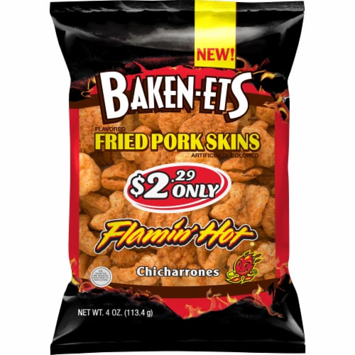 Baken-Ets Flamin' Hot Fried Pork Skins Perspective: front