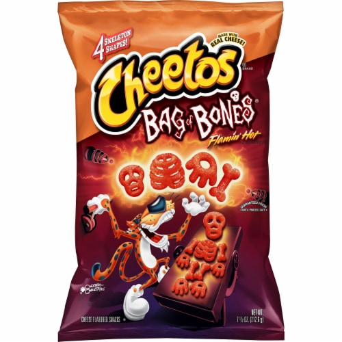 Cheetos Flamin' Hot Bag of Bones Cheese Flavored Snacks Perspective: front