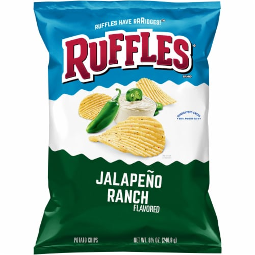 Ruffles Potato Chips Jalapeño Ranch Flavor Snacks Bag Perspective: front