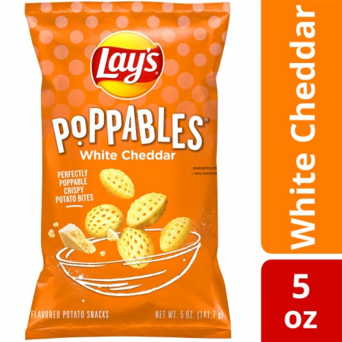 Lay's Poppables White Cheddar Potato Chips Snacks Perspective: front