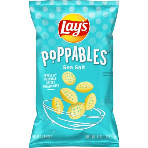 Lay's Poppables Potato Chips Snacks Sea Salt Flavor Bag Perspective: front