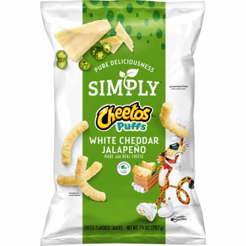 Cheetos Simply Puffs White Cheddar Jalapeno Flavored Cheese Snacks Perspective: front