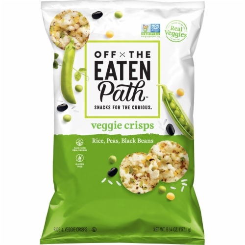 Off the Eaten Path Rice Peas Black Beans Gluten Free Veggie Snacks Crisps Perspective: front