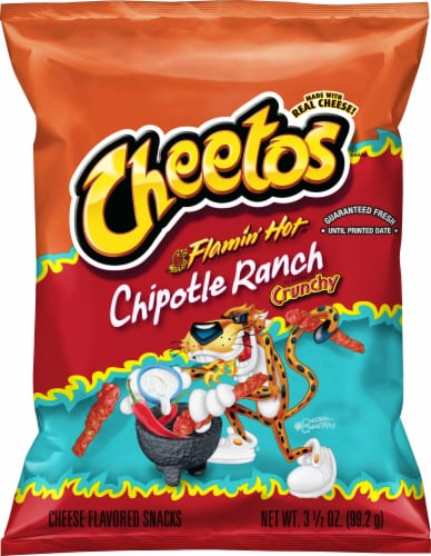 Cheetos Flamin' Hot Chipotle Ranch Crunchy Cheese Snacks Perspective: front