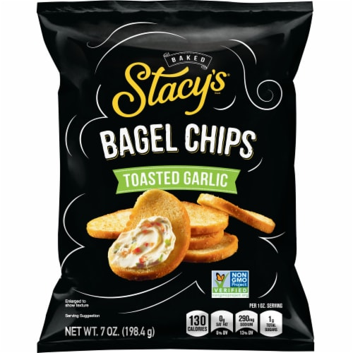 Stacy's Toasted Garlic Bagel Chips Snacks Perspective: front