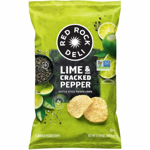 Red Rock Deli Lime and Cracked Pepper Kettle Style Potato Chips Perspective: front