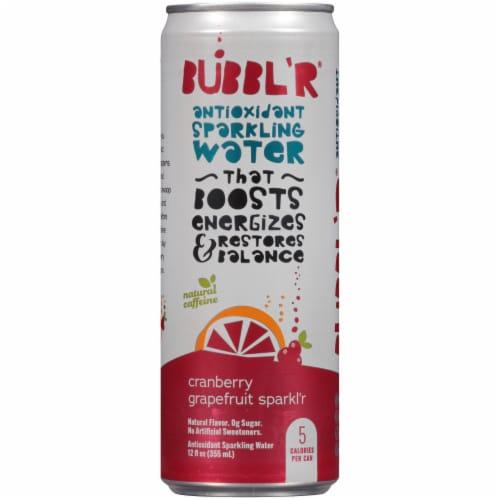 Bubbl'r Cranberry Grapefruit Sparkl'r Antioxidant Sparkling Water Perspective: front