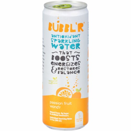 Bubbl'r Passion Fruit Wond'r Antioxidant Sparkling Water Perspective: front