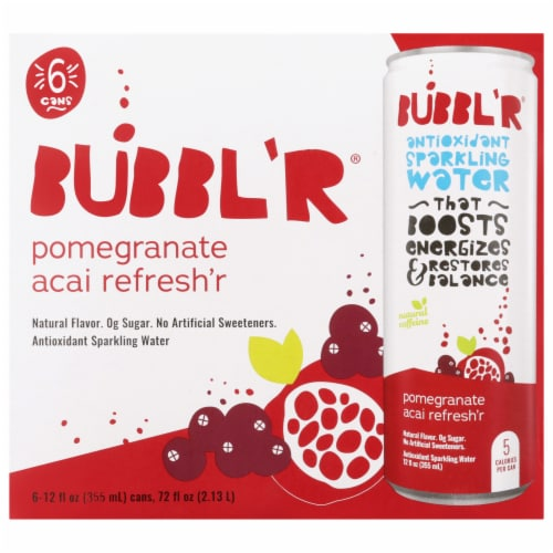 Bubbl'r Pomegranate Acai Refresh'r Antioxidant Sparkling Water Perspective: front