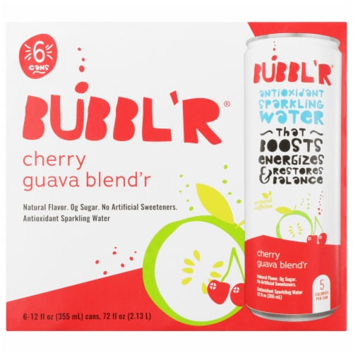 Bubbl'r Cherry Guava Blend'r Antioxidant Sparkling Water Perspective: front