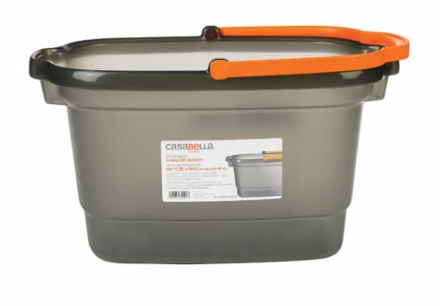 Casabella 4 Gallon Durable All Purpose Rectangular Bucket with Pour Spout, Gray Perspective: front