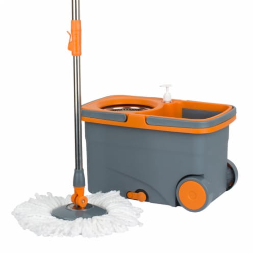 Casabella 8585333 Spin Cycle Kitchen Mop with Bucket and Built In Soap Dispenser Perspective: front