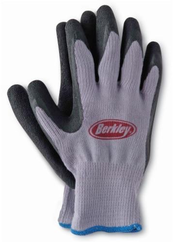 Berkley Coated Fishing Gloves - Gray/Black Perspective: front