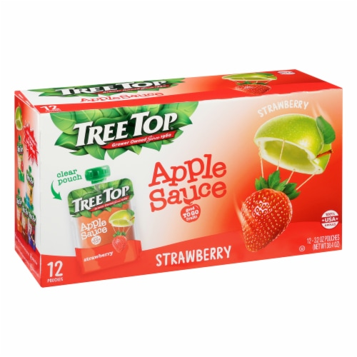 Tree Top Strawberry Apple Sauce Pouches Perspective: front