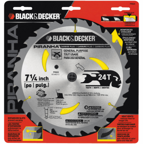 BLACK + DECKER Piranha 24T Carbide Plus Saw Blade Perspective: front