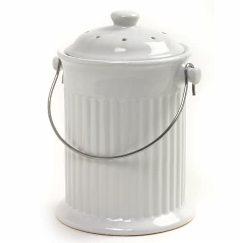 Natural Home Ceramic Kitchen Compost Bin - White Perspective: front