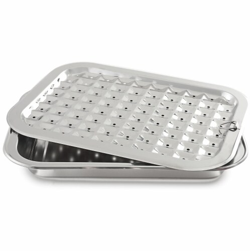 Norpro 2 Piece Stainless Steel Rectangular Oven Roasting Broil Pan and Drip Tray Perspective: front